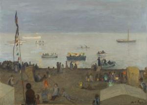 Otto Heinrich Engel, Strandleben am Abend