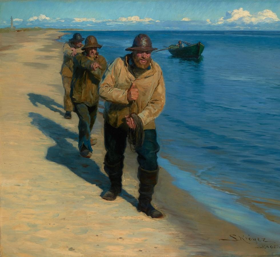Drei Fischer ziehen ein Boot