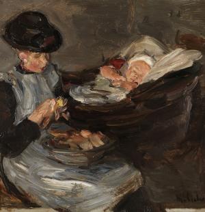 mkdw_Max_Liebermann-Mädchen_aus_Laren_beim_Kartoffelschälen_mit_schlafendem_Kind_im_Korb-um_1887-Sammlung_Kunst_der_Westküste